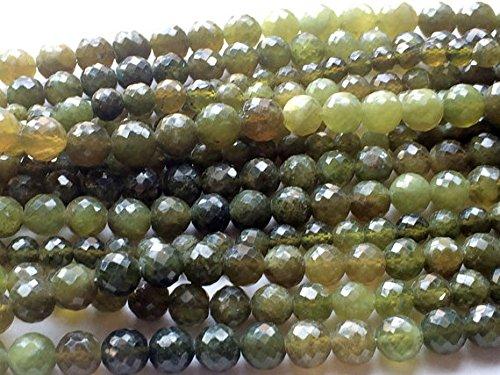 "1 Strand Natural Grossular Garnet, Green Garnet Rondelles, Vessonite Beads, Faceted Rondelle Beads, 5-6mm Round Beads 5"" Long"