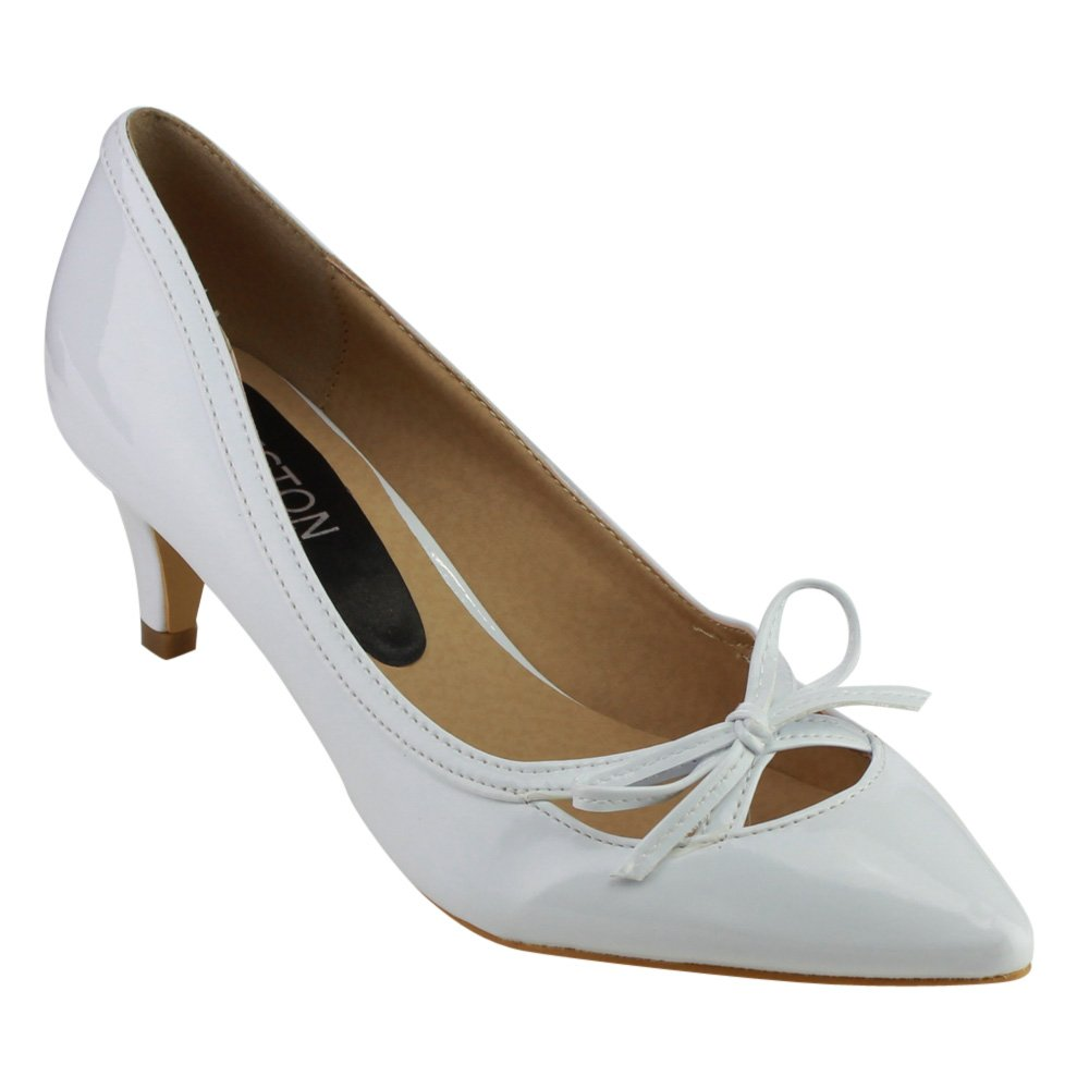 1950s Style Shoes Beston GB80 Womens Pointed Toe Low Heels Bowknot Deco Pump $27.49 AT vintagedancer.com