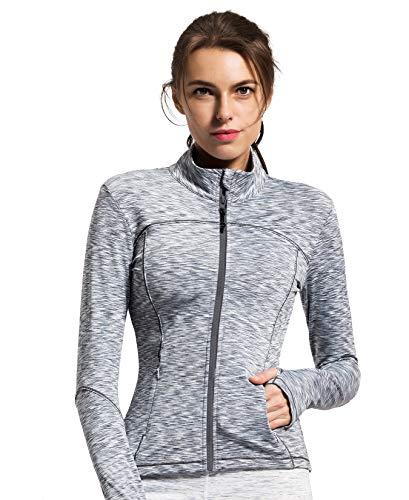 QUEENIEKE Womens Sports Jacket Turtleneck Slim Fit Full-Zip Running Top Size S Color Light Grey