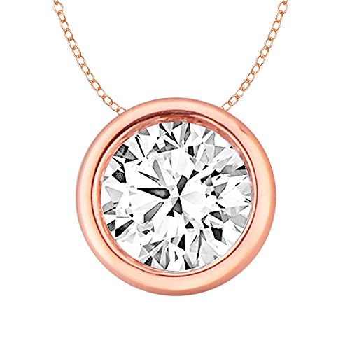 14k Gold Round Diamond Solitaire Pendant Necklace Bezel Set Women (0.33cttw, IJ / I2-I3) 18'' by EternalDia
