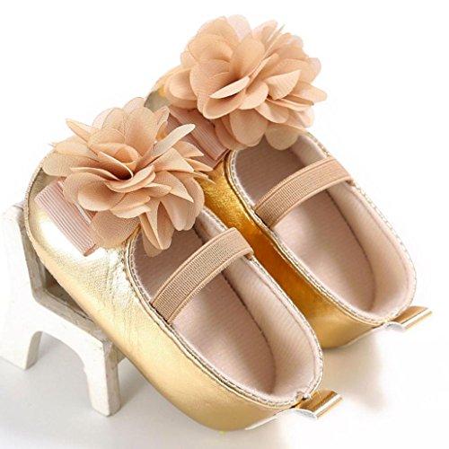 zapatos niña, Switch Recién nacido Bebé ninas Prewalker Zapatos primeros pasos, floral princesa Zapatos verano moda Al aire libre sandalias de niña fiestaf con Suela blanda Oro