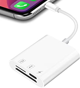 SD TF Card Reader Compatible with iPhone iPad, Portable Memory Card Reader Camera Adapter Support Charging and Card Reading, Trail Camera Viewer, No App Required, Plug and Play