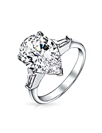 Bling Jewelry Classic Pear Baguette 925 Sterling Silver CZ Engagement Ring