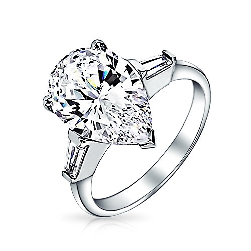 7 CT Cubic Zirconia 925 Sterling Silver Baguette Side Stones Brilliant Cut AAA CZ Pear Shaped Statement Engagement Ring (Sides Ring Baguette)