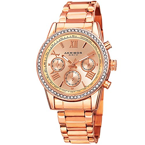 Akribos XXIV Women's AK872RG Round Rose Gold Ion-Plated Crystal Accent Watch