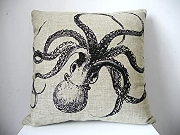 OliaDesign Octopus Cotton Linen Square Decorative Throw Pillow Case Cushion  Cover About 17.3 17.3 Inch(