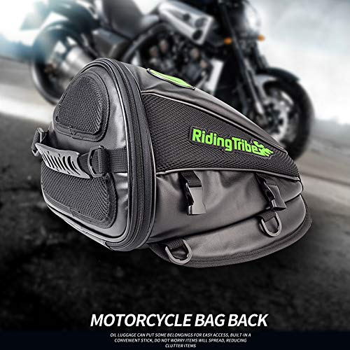 Riding Tribe Motorcycle Tail Bag Multifunctional Waterproof Backpack PU Leather Luggage Riding Backseat Rear Storage Bag