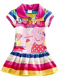 Little Girls Cotton Short Sleeve Dress with Cute Rainbow Cartoon Lapel Kids Casual Skirt, 1-6Y