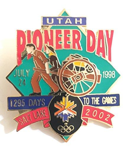 (Utah Pioneer Day 1998 Wagon Pull Salt Lake City Winter Olympics Countdown Pin LE 487/5000)
