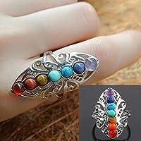 Meenanoom 925 Silver Healing Hollow Stones Adjustable 7 Chakra Ring Thumb Reiki Gem Ring