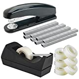 Desktop Stapler Black, with 5000 Staples - with Desktop Tape Dispenser Black Non-Skid Base with 6 Premium Rolls Invisible Tape - for Home, Office, School - Value Set