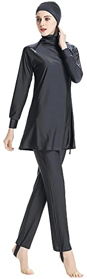 9b2a9572432b8 Ababalaya Womens Muslim Islamic Solid Full Cover Hooded Burkini Swimsuit  SPF 50+