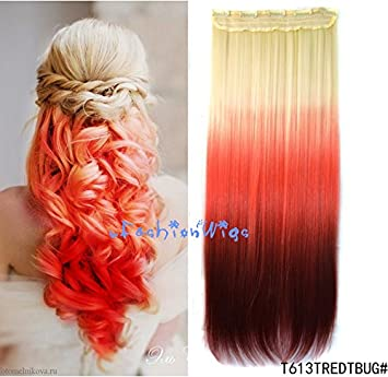 f77df117e43 White blonde to red to burgundy three Colors Ombre hair extension,  Synthetic Hair extensions UF215