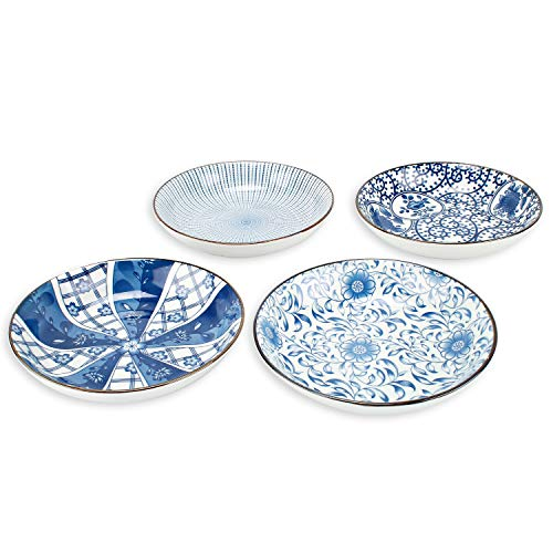 YALONG Porcelain Blue and White Bread and Butter Dinner Plate Set, Appetizer Salad Floral Dessert Snack Serving Shallow Plates Set Set of 4, 7-inch Assorted Motifs Father's Day