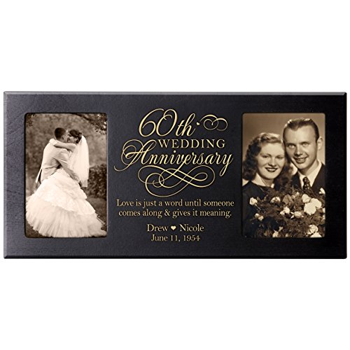 Personalized 60th Anniversary Picture frame Gift Custom 60 year parent wedding Diamond anniversary gift ideas 8x16 holds 2 4x6 photos (Black)