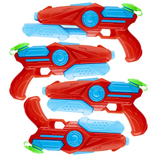 Pack of 4 Plastic Water Blaster Soaker Squirt Guns for Water Fighting Summer Pool Beach Toy for Kids]()