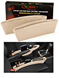 Leather Car Seat Catch Caddy- Gap Filler and Organizer in Between Front Seat and Console - Premium Quality PU Leather Accessory & Storage - Stop Before it Drops (Beige)2 Pcs