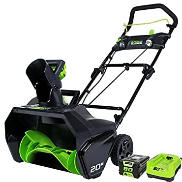GreenWorks Pro 80V 20 Cordless Snow Thrower, 2Ah Battery & Charger Included