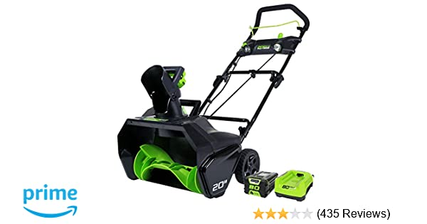 Top Rated Snow Blowers : Amazon.com : greenworks pro 20 inch 80v cordless snow thrower 2.0