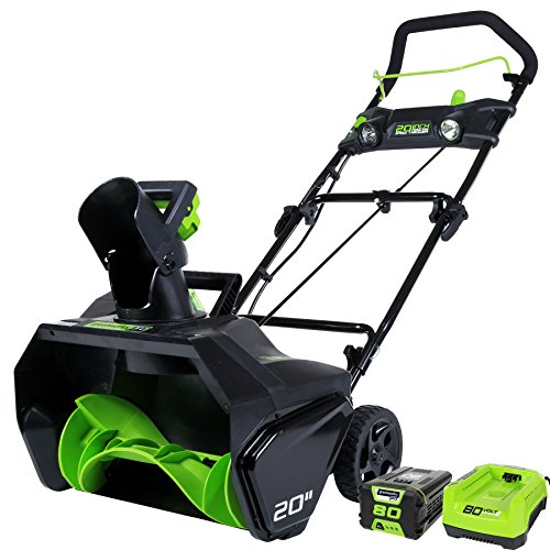 Thrower Snow Snow (Greenworks PRO 20-Inch 80V Cordless Snow Thrower, 2.0 AH Battery Included 2600402)