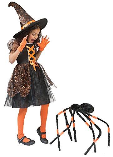 Hexe Glenda Kostüm für Mädchen Schwarz Orange mit Sternen Gr. 98 - Süßes Halloween Kostüm mit Kleid und Hut
