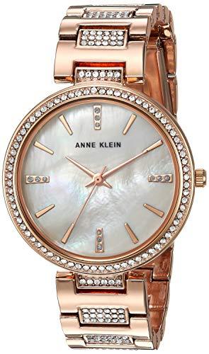 Anne Klein Women's AK/3126BMRG Swarovski Crystal Accented Rose Gold-Tone Bracelet Watch