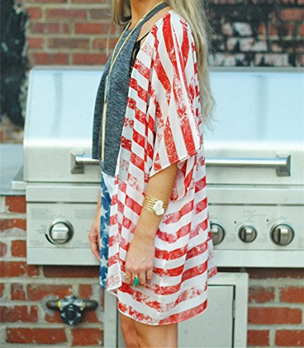 c18bee4c6c DDSOL Women's American Flag Kimono Cover up Beachwear Cardigan Loose Tops  Shirt Blouse. Published August 16, 2018 | By westend. 🔍. Amazon.com ...