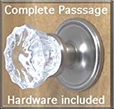 Fluted Crystal Glass/Brushed Nickel Passage Door Knob Sets for Modern Doors+includes Premium Retrofit Rosettes