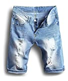 XARAZA Men's Moto Biker Jeans Shorts Denim Short Pants (US W36=Tag38(Asian Size), Light Blue)