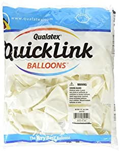 """Pioneer Balloon 50 Count Quick Link Latex Balloons, 12"""", White"""