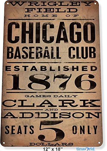 NGFD TIN Sign 8x12 inch Chicago Wrigley Field Card Metal Decor Art Baseball Shop Store A040