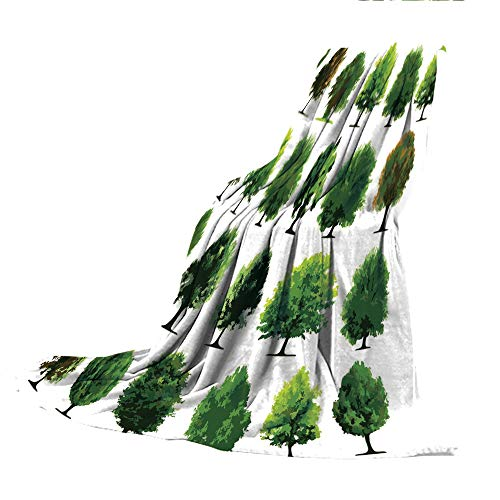 (SCOCICI Blanket for Bed Couch Chair Fall Winter Spring Living Room,Nature,Mother Nature Gift Different Types of Trees and Pines Planes Bushes Art Print,White and Green,59.06