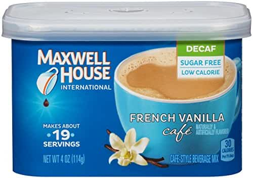 Maxwell House International Café Flavored Instant Coffee, French Vanilla, Decaf & Sugar Free, 4 Ounce Canister (Pack of 4)