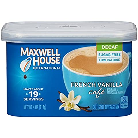 Maxwell House International Cafe Flavored Instant Coffee, French Vanilla, Decaf & Sugar Free, 4 Ounce Canister (Pack of - Caffeine Free Coffee