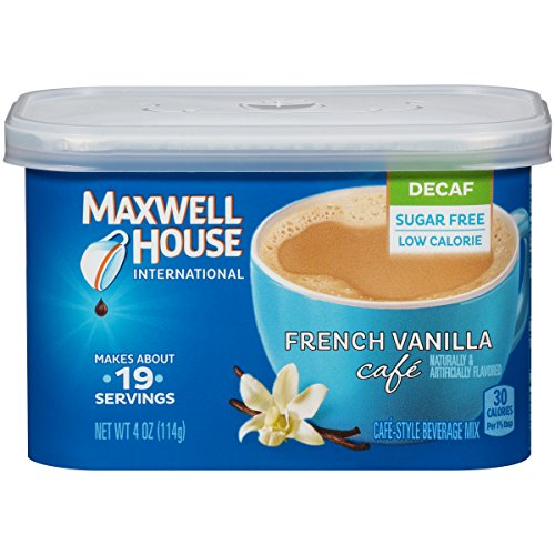 Maxwell House International Cafe Flavored Instant Coffee, French Vanilla, Decaf & Sugar Free, 4 Ounce Canister (Pack of (Make French Vanilla Coffee)