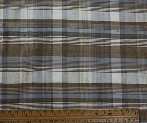 Cream & Olive Dupioni Plaids, 100% Silk Fabric, By The Yard, 44