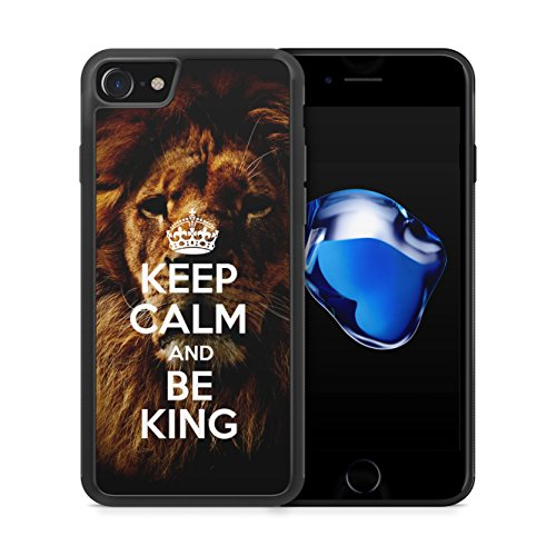 Keep Calm And Be King iPhone 7 Plus SILIKON TPU Hülle Cover Case Schale Löwe Lion Motivation Spruch