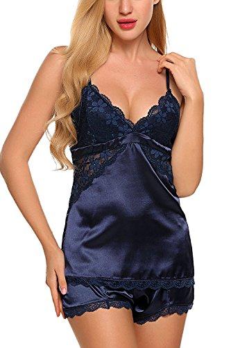 Pigiama da Donna con Pizzo Raso Notte 2 e Seta Accogliente Pezzi V Pantaloncini a Indumenti Blu collo Top elegente Aranmei gSqB5z