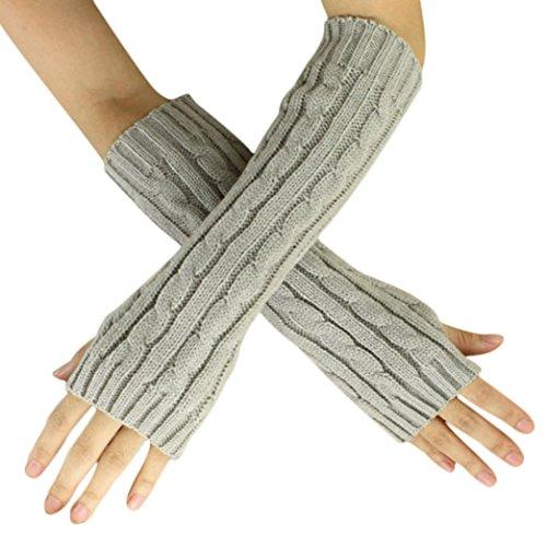 ManxiVoo Elegant Unisex Hemp Flowers Fingerless Knitted Long Gloves (Grey) - Rainbow Net Fingerless Gloves