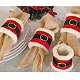 Sotijobs 4pcs Christmas Napkin Rings Serviette Holder Party Banquet Dinner Table Decor