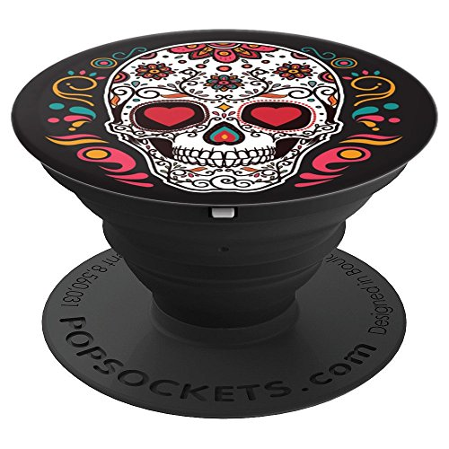 Cool Sugar Skull with Flowers - PopSockets Grip and Stand for Phones and -