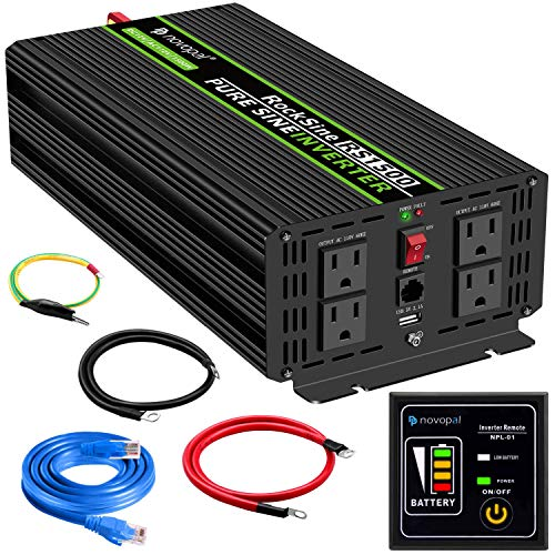 novopal Power Inverter Pure Sine Wave-1500 Watt 12V DC to 110V/120V AC Converter- 4 AC Outlets Car Inverter with One USB Port-16Ft Remote Control And Two Cooling Fans-Peak Power 3000 Watt (1500 Watt Pure Sine Wave Power Inverter)