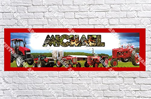 Personalized Red Tractor John Deere Banner - Includes Color Border Mat, With Your Name On It, Party Door Poster, Room Art Decoration - Customize