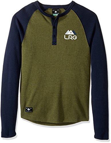 LRG Men's Natural Down Henleythermal, Military Olive Heather, Medium