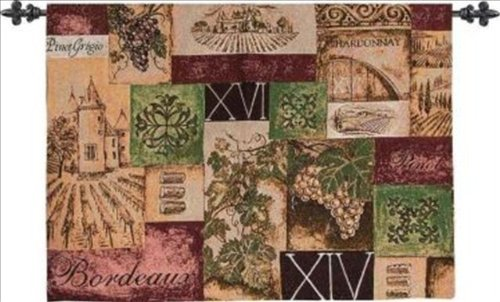 Manual Old World Wine Woven Tapestry Wallhanging with Rod