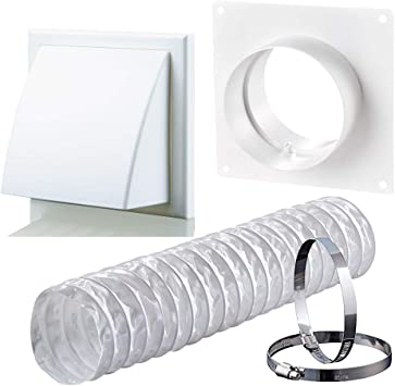 Kit de extractor de campana extractora para secadora con ventilador de 150 mm, blanco: Amazon.es: Bricolaje y herramientas