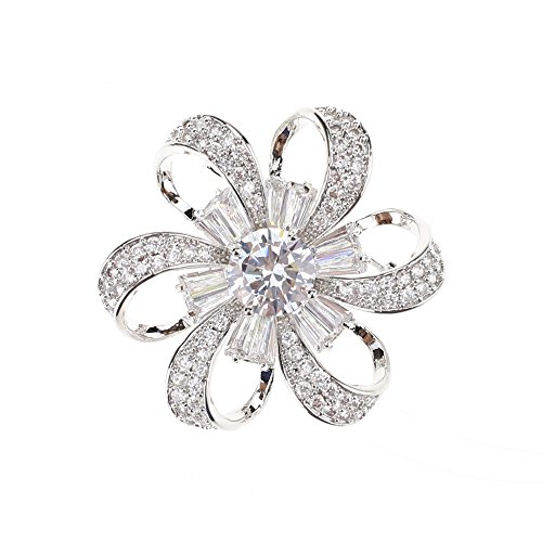 SHINYTIME Women's Zircon Hex Floral Shape Fashion Handmade Brooch Pin with Clear Diamond for ()