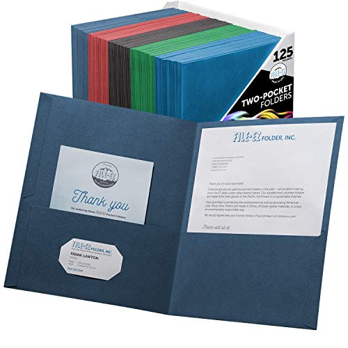 FILE-EZ Two-Pocket Folders, Assorted Colors, 125-Pack, Textured Paper, Letter Size (EZ-32400)