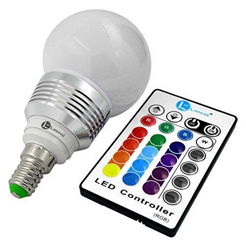 Bombilla LED RGB SUNGETACE 3 W E14 Multi-color IR Control remoto inalámbrico: Amazon.es: Iluminación