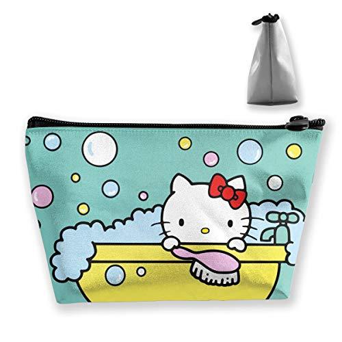 JINUNNU Makeup Bag Cosmetic Pouch Hello Kitty Multi-Functional Trapezoidal Storage Bag Travel Kit - Bag Hello Cosmetics Kitty